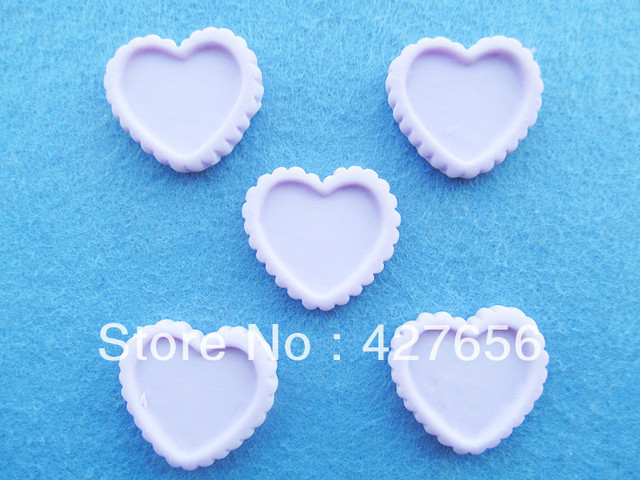 20pcs Resin Blue/Purple Abrazine Heart Blank Cabochon Charm Finding,Base Setting,Border Gear DIY Accessory Jewellery Making