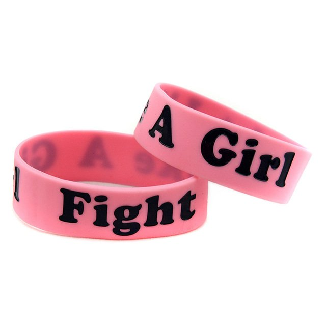 OBH 25PCS Black and Pink Fight Like A Girl Silicone Bracelet to Support of Women are Battling Cancer