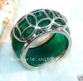free shipping >>>>> Fashion Tibet silver Green Natural stone Ring