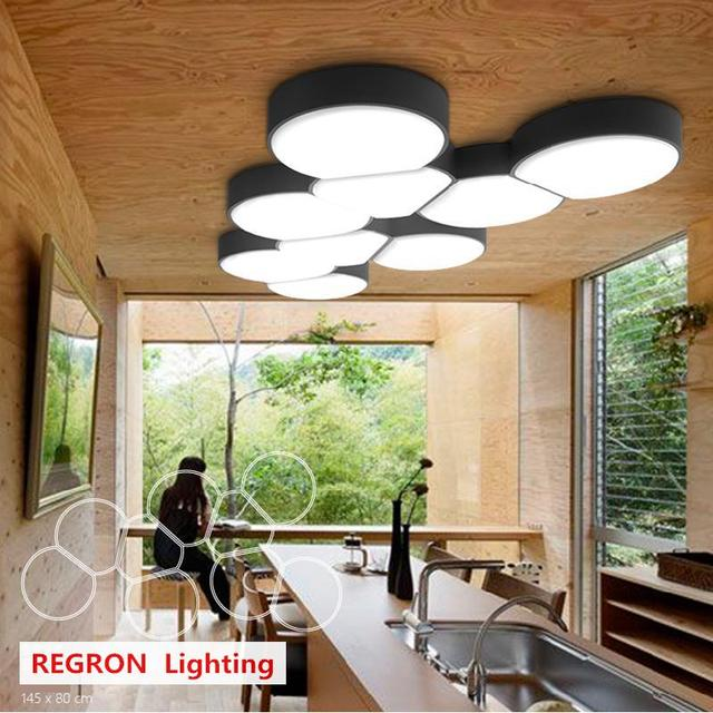 Regron Modern Ceiling Light Europe Style Creative Round Black/white Led Ceiling Lamps For Kitchen Living Room Bedroom