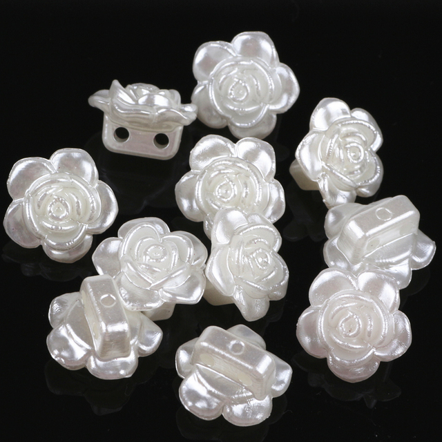 200pcs/lot 9*14mm ABS Ivory Flower Simulated Pearl Beads Charms Jewelry Making Material DIY Crafts Sewing ON Pearl Flower