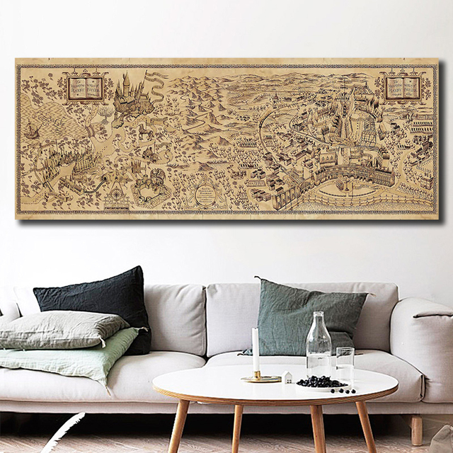 The Wizarding World Of Map Wall Art Canvas Posters Prints Painting Wall Pictures For Office Living Room Home Decor