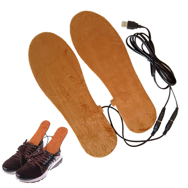 Wool Electric Foot Heated Skiing Warmer Insoles Durable Heating Heater Insoles Clothing Dorpshipping