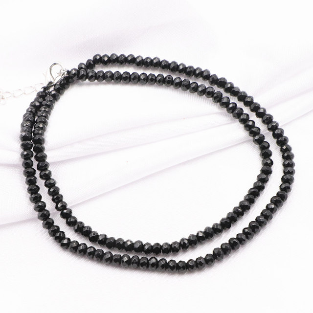 "Wholesale Beads Chain Necklace for Women Black Natural Stone Jades Choker Necklaces 2x4mm Abacus Collares Gifts Jewelry 18"" A811"