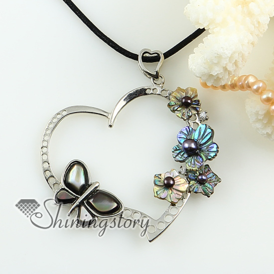 heart butterfly flower Penguin Oyster rainbow oyster sea shell freshwater pearl pendant necklace 2013 cheap fashion jewelry