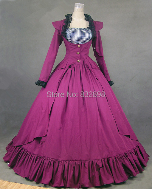 Rose Red Gothic Victorian Ball Gown Dress Long Stage  Dress/ Southern Belle Gown Reenactment Theater Costum