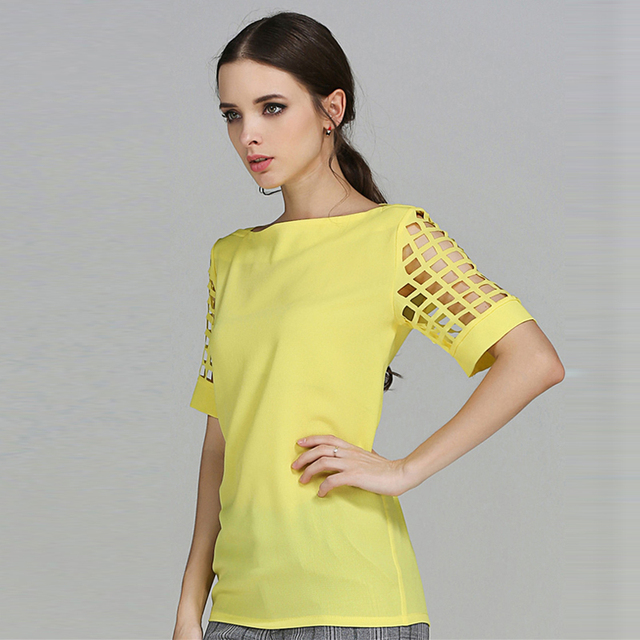 Summer Office Ladies Tops 2019 Short Sleeve White Shirt Women Chiffon Blouse White Blouse Plus Size Blouse Blue Yellow Black