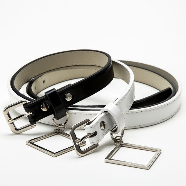 Black White Square Buckle Thin Casual Belt For Women Leather Belt Ladies Straps Simple Waistband For Apparel Accessories