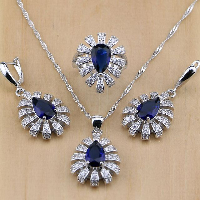 Women 925 Sterling Silver Jewelry Blue Cubic Zirconia White CZ Jewelry Sets Wedding Earrings/Pendant/Necklace/Rings