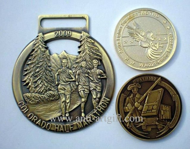 Antique silver medal Die Struck 3D Logo Souvenior Competition Award