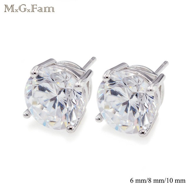 MxGxFam Shiny Round Clear CZ Stud Earrings For Women 6mm / 8mm / 10 mm Classic Style AAA+ Cubic Zircon Whit Gold Color