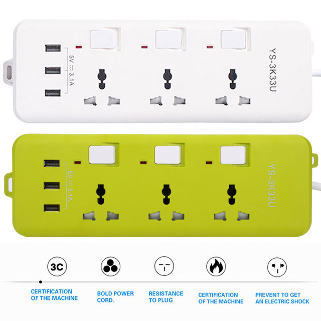 2500W 3 USB Ports Charger Socket Branch Console Socket Home Travel Mains Charger Charging Extension with 3 USB Socket Universal