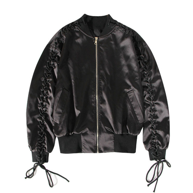 Cakucool Women Bomber Jacket Coat Metallic Black Long Pleated Sleeve Baseball Jacket Casual Lace-up Design Women Tops Overcoat