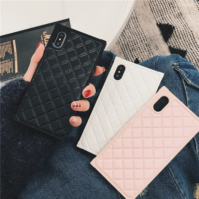 Lingge Pattern Lambskin for iPhone X  6 6s 7 8 6plus 6splus 7plus 8plus  Acrylic Cell Phone Case/cover(Pink/Black/White)