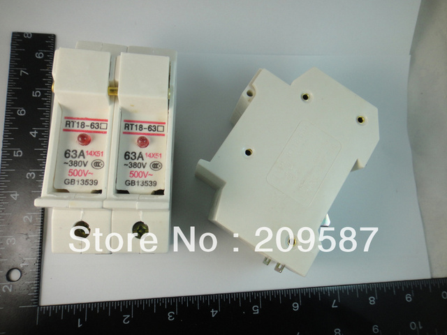 63A New Cylindrical Fuse Holder 2P With LED RT18-63X