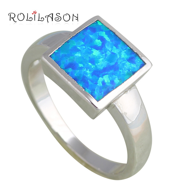 Stylish Square design Wholesale & Retail Blue Fire Opal Stamped Silver Fashion Jewelry Rings for women USA #6#7#7.5#9 OR697