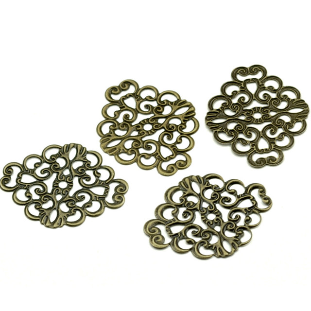 50Pcs Bronze Tone Hollow Filigree Flower Wraps Retro Alloy Connectors Embelishment Jewelry Diy Findings 37x30mm