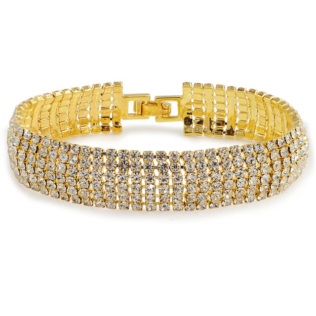 MxGxFam ( 19 cm*16 mm) NEW Lead and Nickel Free Crystal Wdith Women Bracelet Gold Color