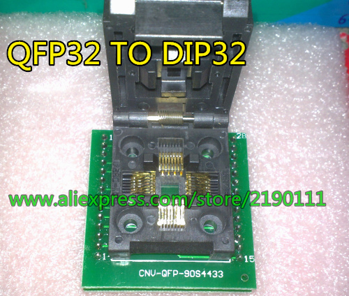 QFP32 TO DIP32 QFP32 TQFP32 FQFP32 PQFP32  IC Programming Adapter Test Burn-in Socket 0.8mm Pitch + Free Shipping