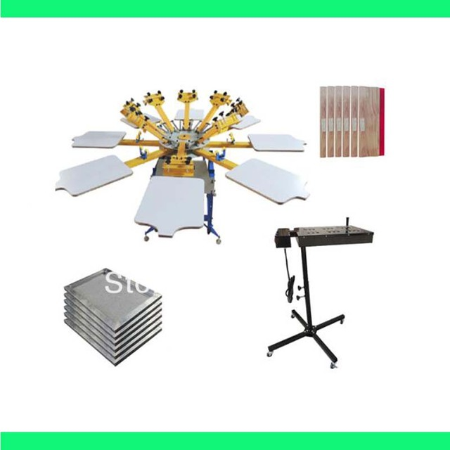High Quality 8 color 8 station silk screen printing kit t-shirt printer press equipment carousel stretched frame squeegee