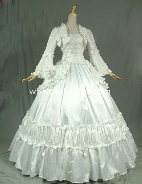 19th Century Solid White Victorian Period  Ball Gown Dress Reenactment Stage Costume Satin Reenactment  Dress