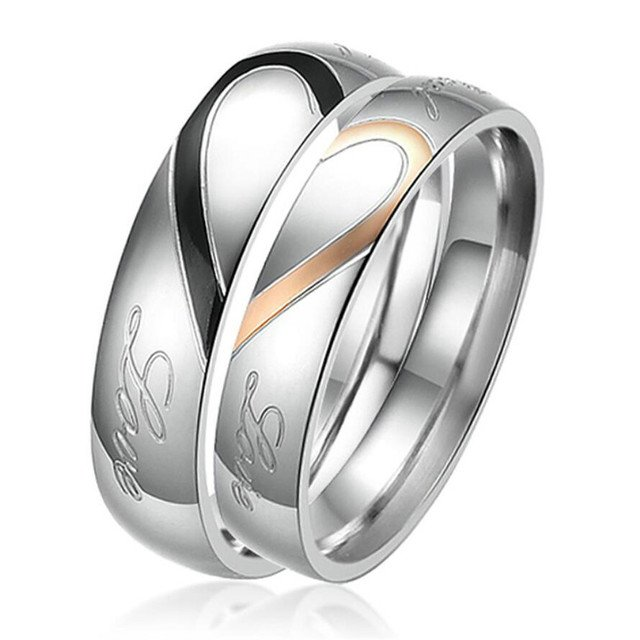 (12 pcs/lot) Mimeng Titanium Rings for Couples 316L Stainless Steel Rings Fashion Jewelry Sweetheart Lover Rings