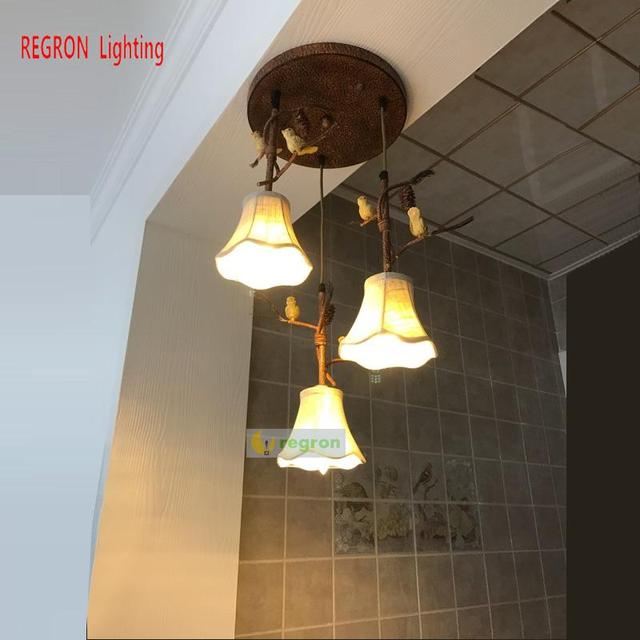 Regron Europe Style Ceiling Lights Retro Led Ceiling Lamp Natural Country Staircase Lamps For Villa Hotel Restaurant Balcony