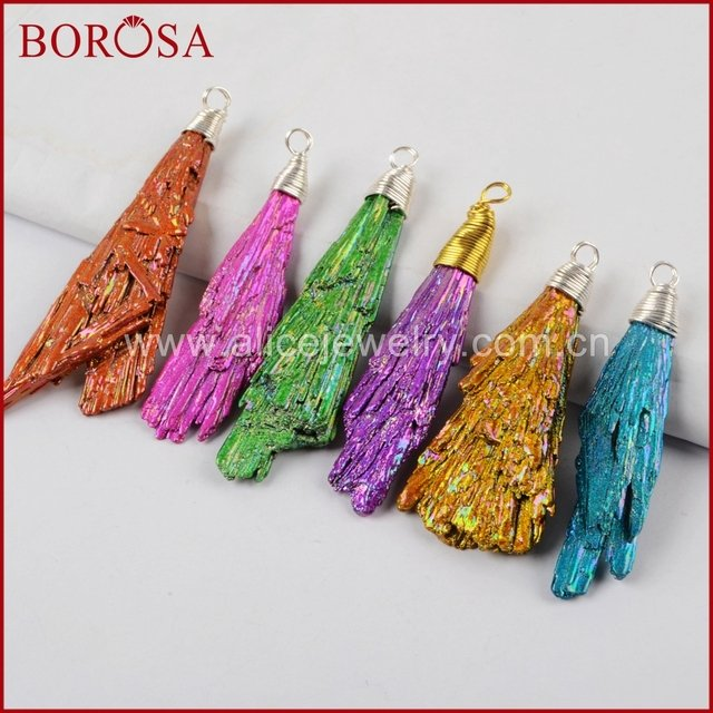 BOROSA Silver Color /Gold Color Wire Wrap Rainbow Tourmaline Pendant Beads,Wholesale Fashion Drusy Stone Pendant Jewelry WX517
