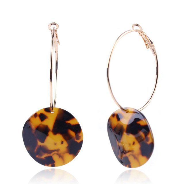 Vintage Geometry Round Dangle Earring For Women Tortoiseshell Acrylic Resin Long Pendientes Statement Drop Earring Party Jewelry