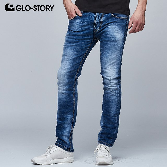 GLO-STORY Men's 2018 Strecth Denim Jeans Men Hip Hop Full Length  Ripped Distressed Straight Jeans Pants MNK-6245