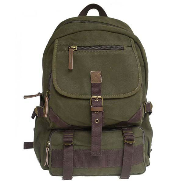 FREE SHIPPING! Thick canvas + genuine leather backpack Picnic bag school leisure sports backpack travel bag 49-3 dark green