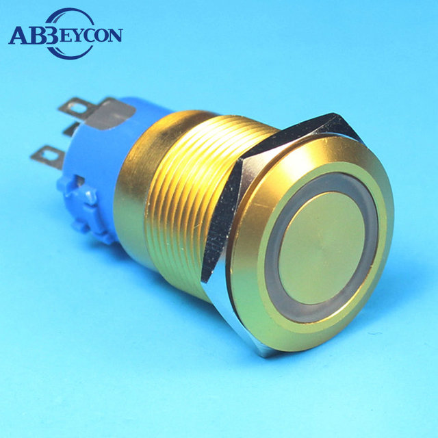 1922F 19mm Flat round head momentary golden pin terminal ring lamp switch waterproof