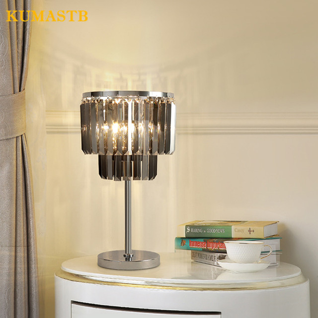 Modern Clear Gray Crystal Table Lamp Minimalist Bedroom Bedside Light Luxury K9 Crystal Table Lamps Living Room Study Desk Lamps