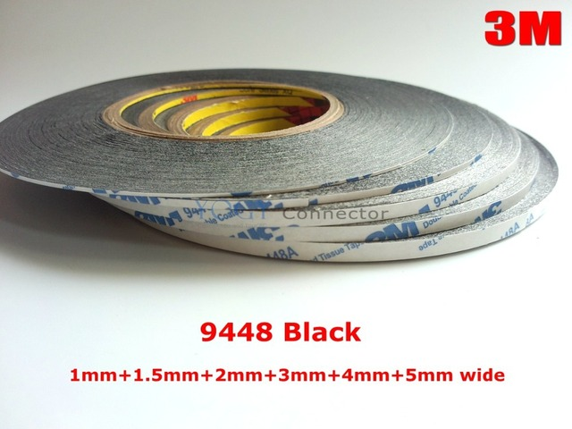 3M Black 6x 1mm/1.5mm/2mm/3mm/4mm/5mm*50M 9448 Tape for Android Samsung Mobilephone Mini Pad Tablet TouchScreen LCD Display Bond