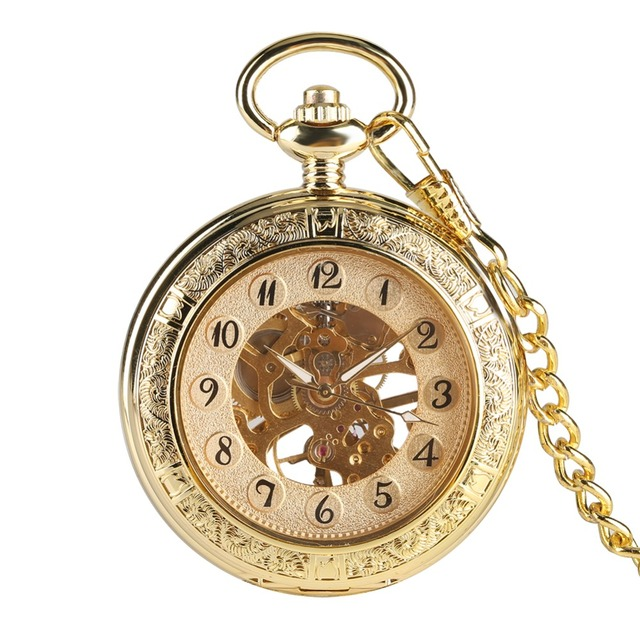 Hand Operated Mechanical Pocket Watch for Gentleman, Unique Gold Pocket Watchers for Boy, Double Sided Pocket Watch for Friends