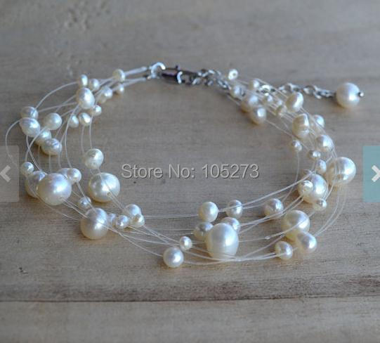 New Arriver Multistrands Pearl White Color 9 Rows 7.5 Inches Genuine Freshwater Pearl Bracelet Wedding Bridesmaids Jewelry