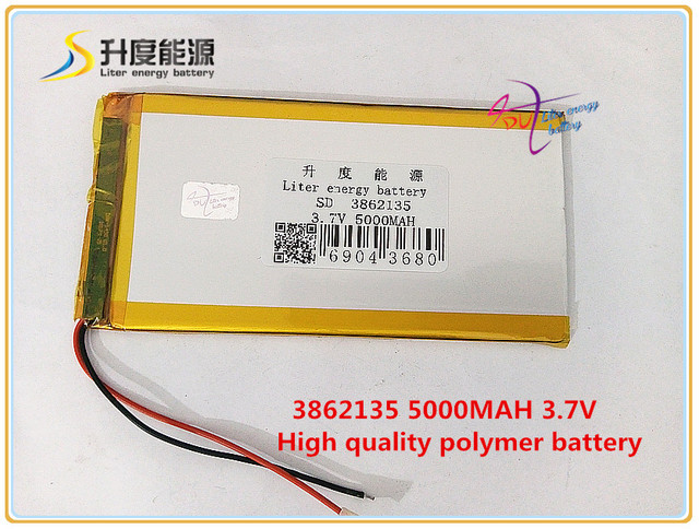 3.7V 5000mAH 3862135 Polymer lithium ion / Li-ion battery for POWER BANK tablet pc MP4 GPS