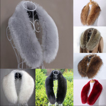 Winter Women Artificial Faux Fur Collar Pure Color Scarf Fluffy Shawl Stole Elegant Style Warm Comfortable Wrap Accessories Gift
