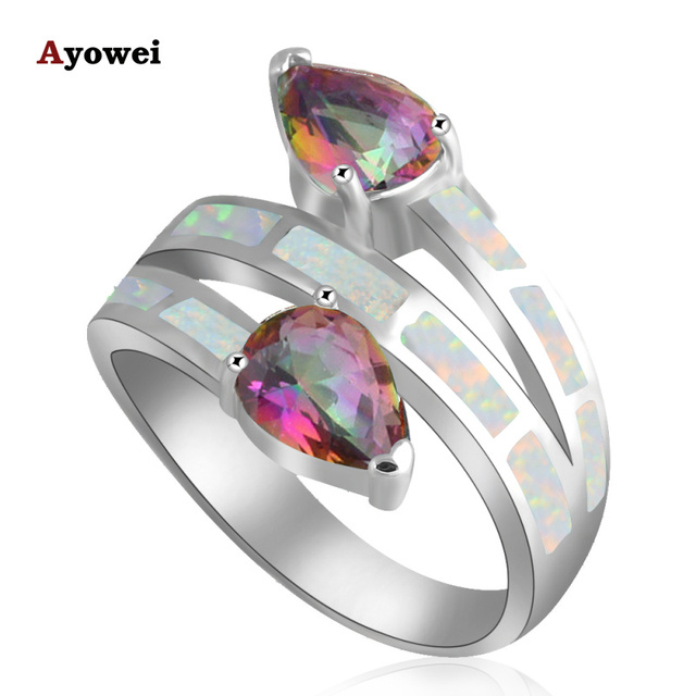 Personality design Mystic Crystal White fire Opal Silver Stamped fashion jewelry Rings USA Size #6#7#7.5#8.5#9 OR717A