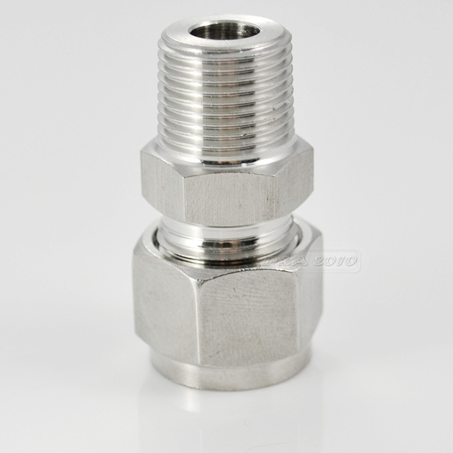 """MEGAIRON 1/8"""" 10mm Stainless Steel 304 Double Ferrule Threaded Male Connector Consist of Nuts Tube Fitting"""