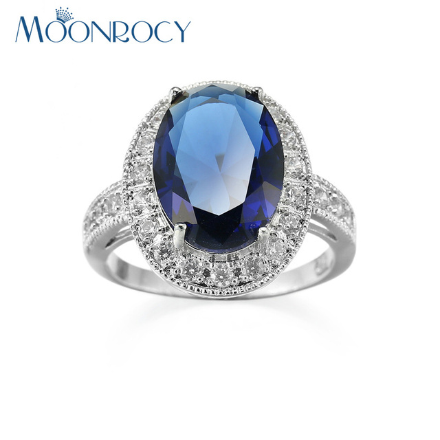 MOONROCY Free Shipping Fashion Jewelry Wholesale Silver Color Cubic Zirconia Oval Blue Crystal Wedding Ring for Women Girls Gift