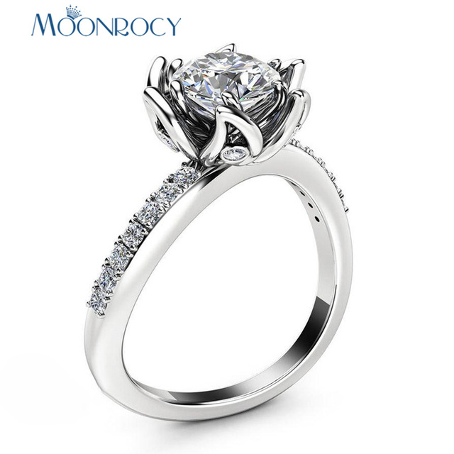 MOONROCY Cubic Zirconia CZ Crystal Rings Wedding Ring Rose Flower for Women Girls Gift Drop Shipping Jewelry Wholesale