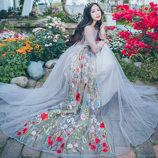 Women Dress 2020 New Spring Summer Vintage O-neck 3/4 Sleeve Mesh Floral Embroidery Maxi Party Dresses Vestidos Mujer Robe Femme