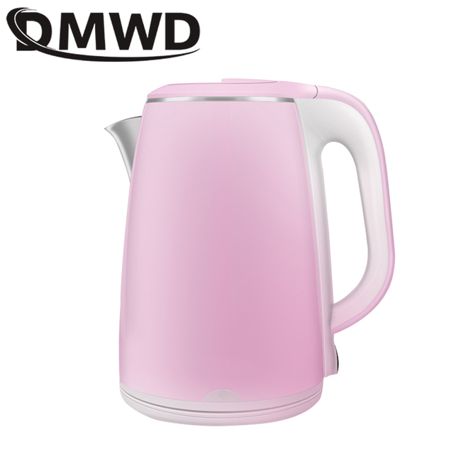 DMWD Automatic Electric Kettle 2L Stainless Steel Hot Water Heating Boiler Thermal Insulation Tea Pot Boiling Heater EU US Plug