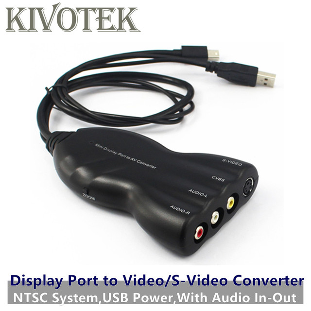 2pcs/lot Mini Display DP to AV/Video/S-Video Audio Converte Adapter Female Connector,NTSC,USB Power,For CRT/LCD TV Free Shipping