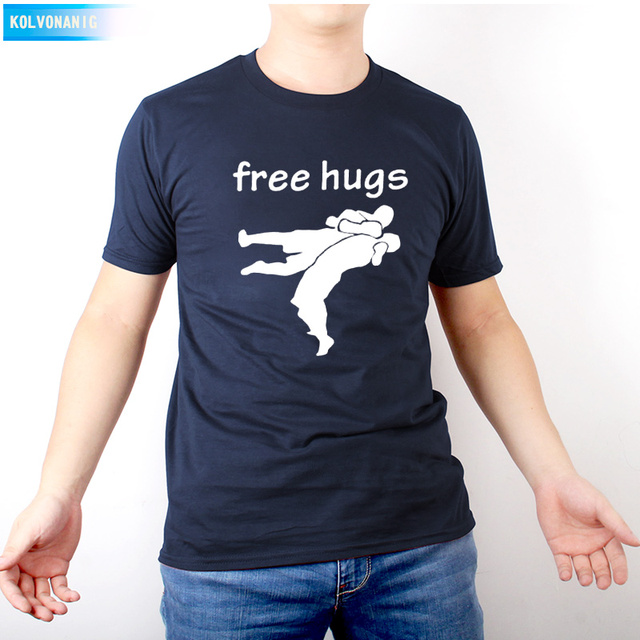 2019 Summer dresses JIU JITSU Funny free hugs Wrestling Printed T Shirt Men's Sportswear Hip Hop With Men Tee shirt  Down Tops
