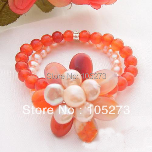 Top Quality Pearl Bracelet Natural Genuine Pink Freshwater Pearls Carnelian Bracelet 2Rows AA 7-13MM 8inch New Free Shipping