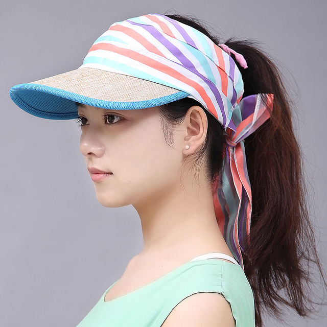 200PCS/LOT Women Foldable Anti-UV Protection Roll Up Sun Hat Wide Big Brim Adjustable Lady Hats Beach Visor