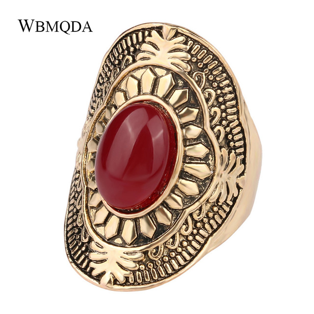 2018 New Arrival Retro Ethnic Big Rings For Women Vintage Ancient Gold Color Men Ring Indian Jewelry Free Shipping