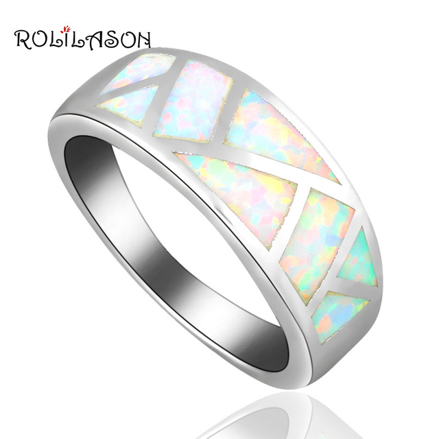 Brand Designer Simple Style White Fire Opal Christmas Gifts silver colorStamped Party Fashion Jewelry USA Sz #6#7#8#9#10 OR831